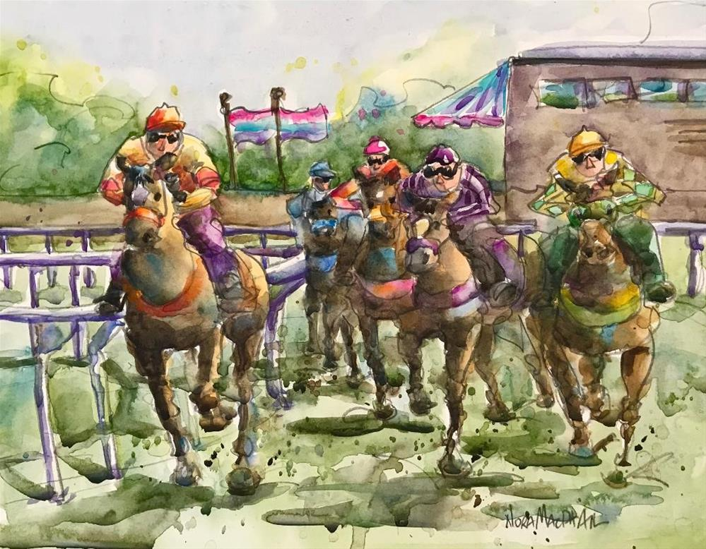 """Cinnamon takes the lead!"" original fine art by Nora MacPhail"