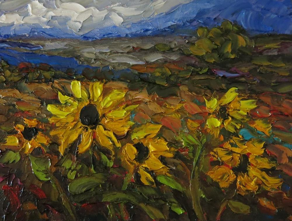 """""""GORGE AND SUNFLOWERS palette knife painting"""" original fine art by Dee Sanchez"""