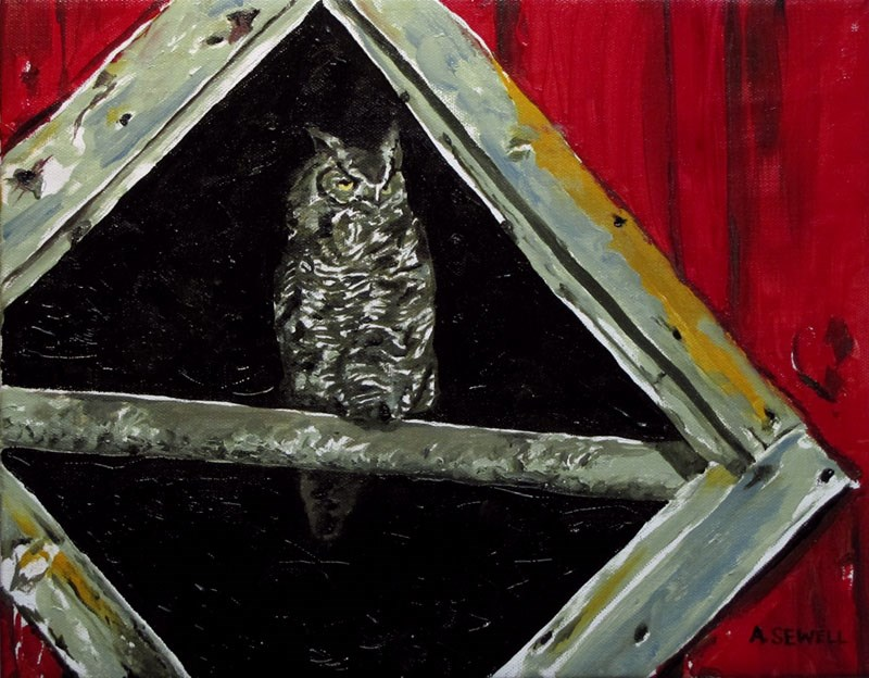 """""""Owl in the Barn"""" original fine art by Andy Sewell"""