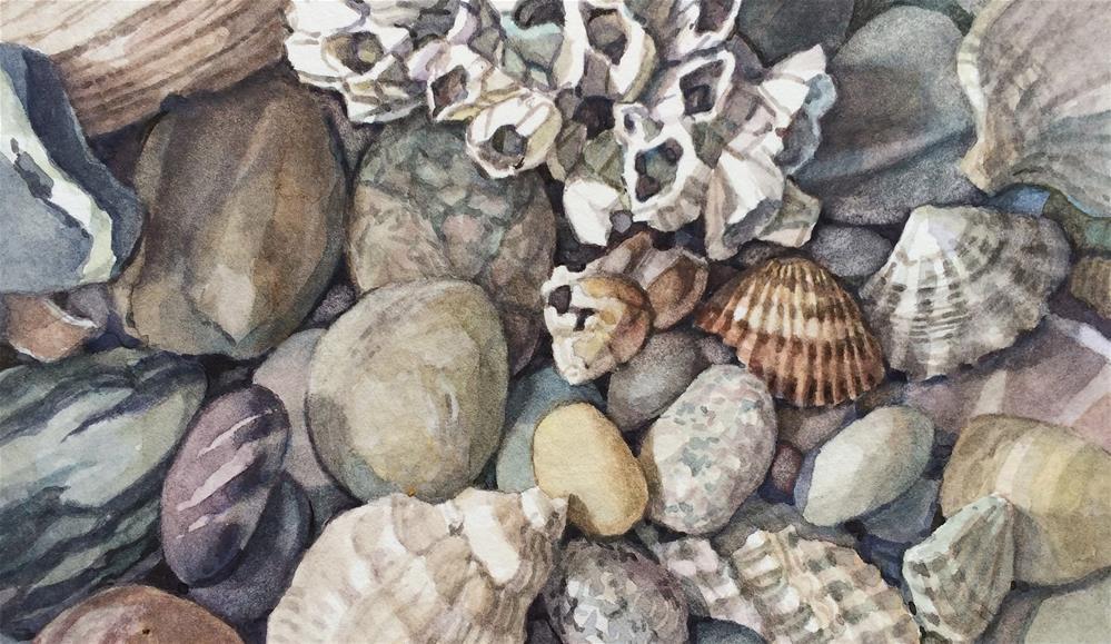 """Beach vignette: framed Whites & Stripes '"" original fine art by Nicoletta Baumeister"