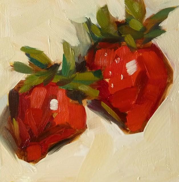 """Strawberries 4x4 oil on panel FRAMED I can send photo of framed piece"" original fine art by Mary Sheehan Winn"
