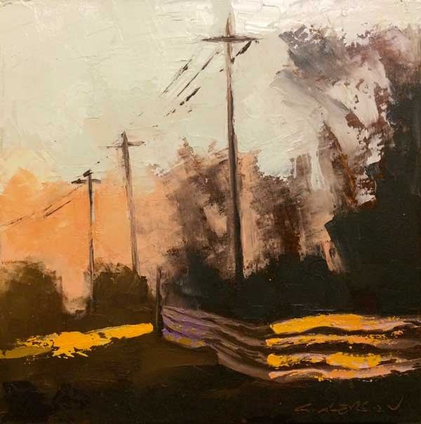 """""""Poles and Fence II"""" original fine art by Mary Gilkerson"""
