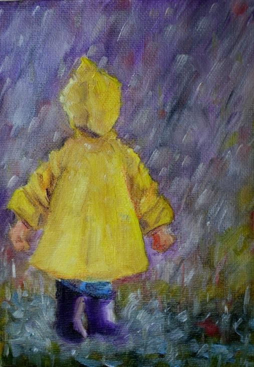 """Puddle Jumper"" original fine art by Maggie Flatley"