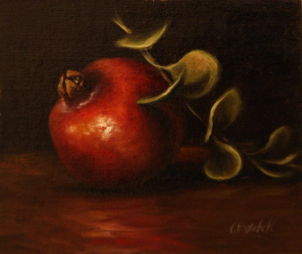 """Still Life with Pomegranate and Ivy,  Oil on 5x6 Linen Panel"" original fine art by Carolina Elizabeth"