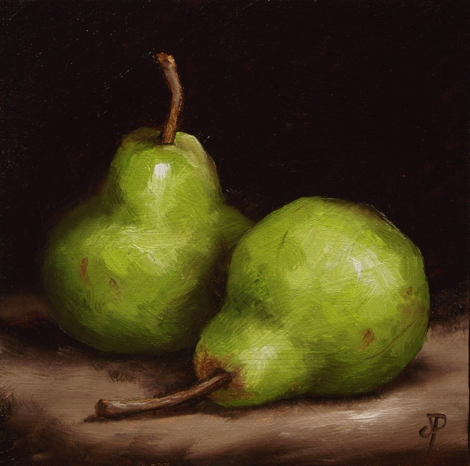 """Pair of Pears #10"" original fine art by Jane Palmer"