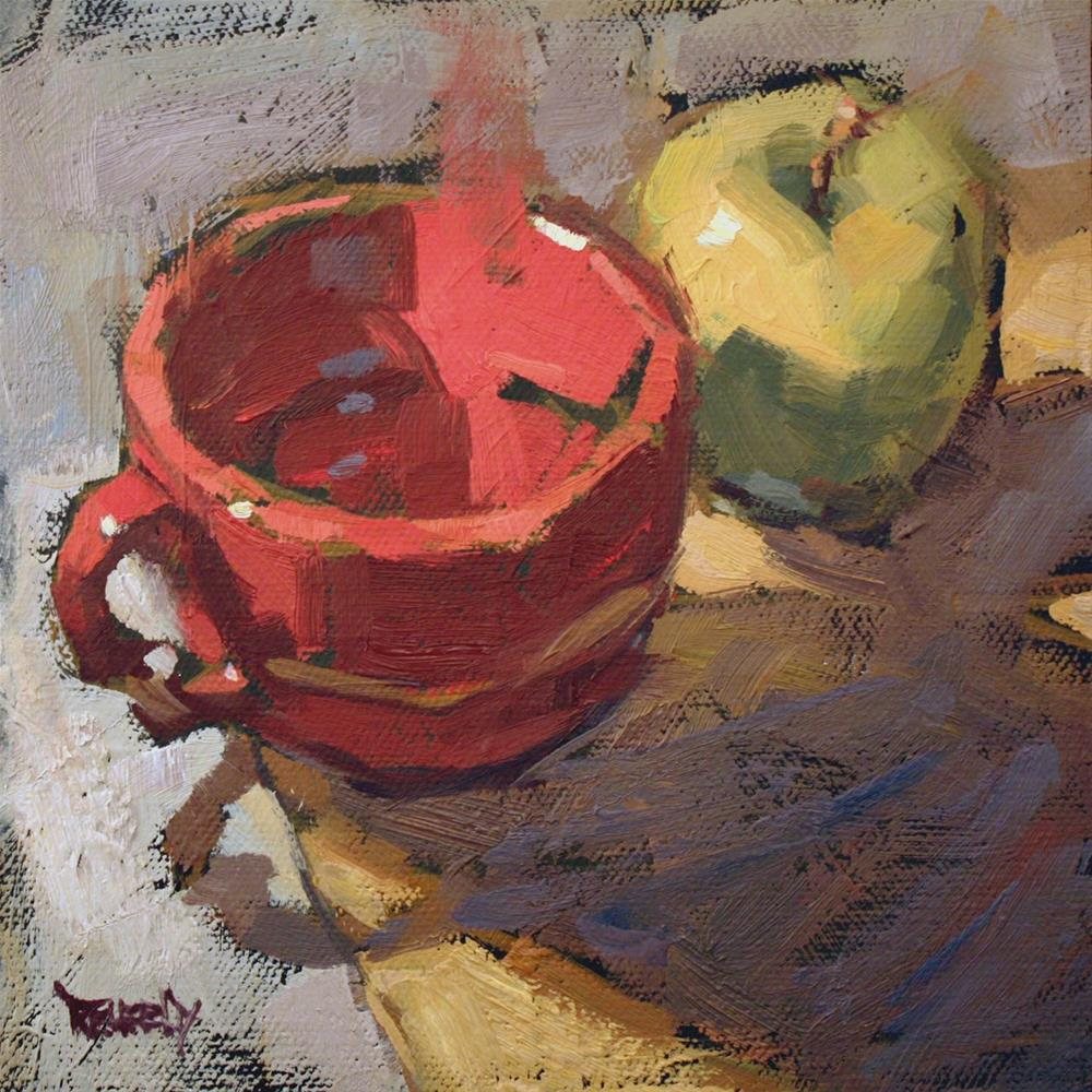 """Red Soup Cup and Green Apple"" original fine art by Cathleen Rehfeld"
