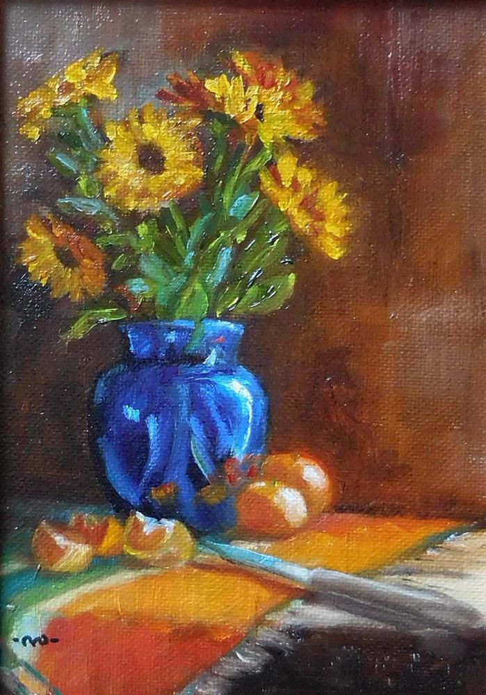 """Marigolds & Oranges"" original fine art by Cietha Wilson"