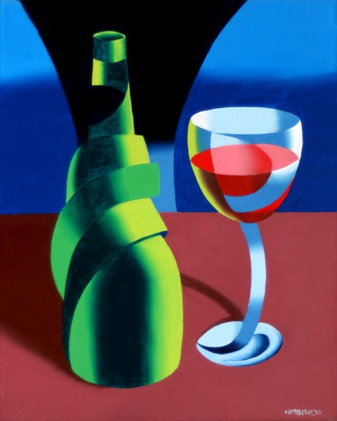 """""""Mark Adam Webster - Abstract Wine Bottle and Glass Still Life Oil Painting"""" original fine art by Mark Webster"""