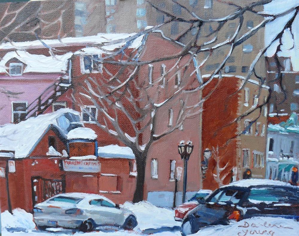 """""""1098 Marche Campus, McGill Ghetto Scene, 8x10, oil on board"""" original fine art by Darlene Young"""