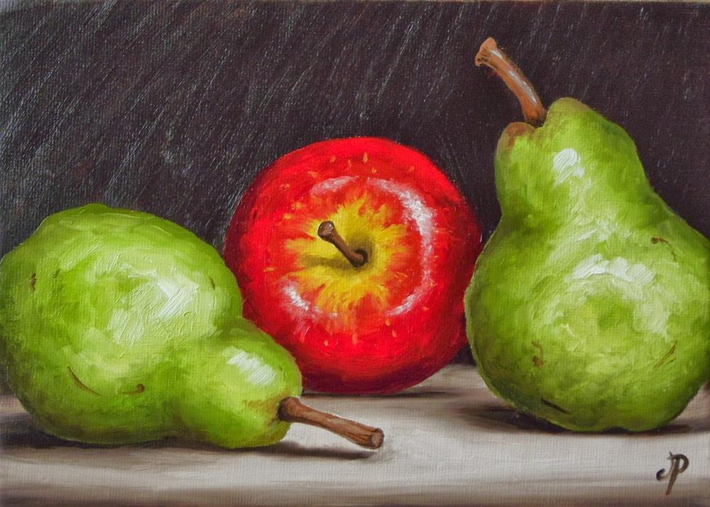 """""""Apple and Pears"""" original fine art by Jane Palmer"""