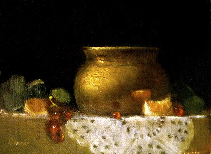 """""""Brass Pot with Doily, Grapes, and Oranges"""" original fine art by MeeLi Lee"""