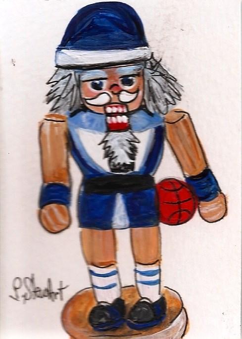 """ACEO Nutcracker Painting Wooden Basketball Player Guy Shorts SFA Penny StewArt"" original fine art by Penny Lee StewArt"