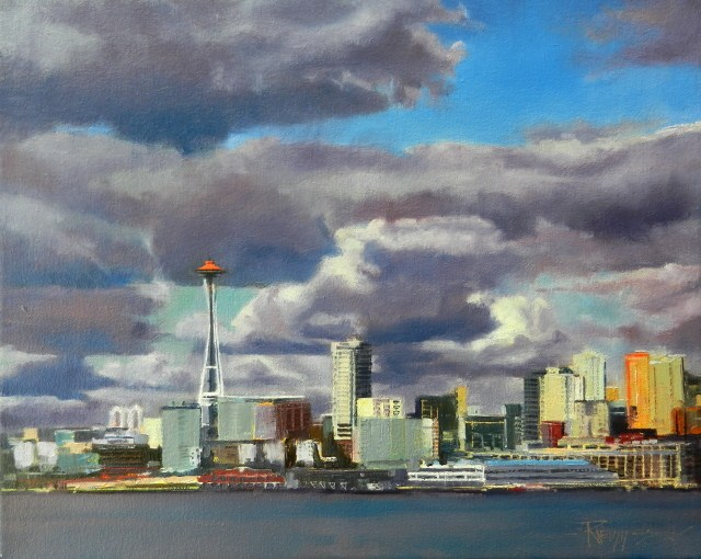"""""""Cloud Space Seattle city, oil painting by Robin Weiss"""" original fine art by Robin Weiss"""