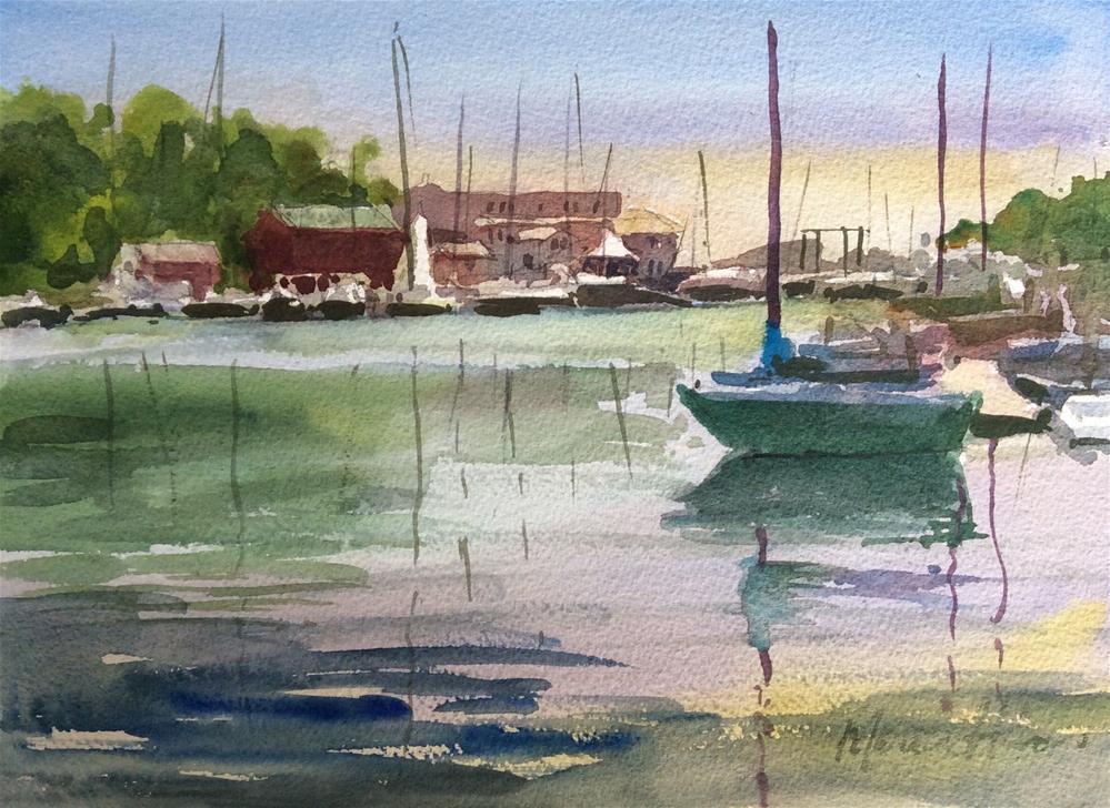 """Late Summer at Camden Harbor"" original fine art by Marita Hines"