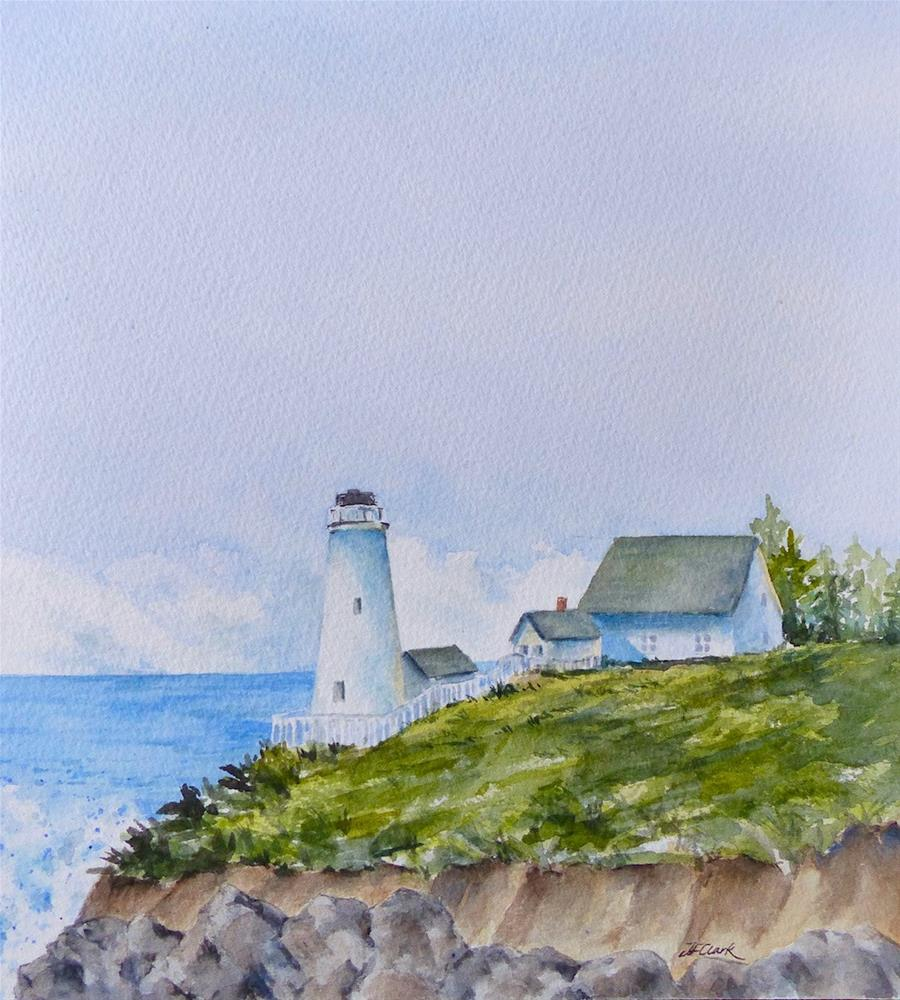 """New England Lighthouse"" original fine art by Judith Freeman Clark"