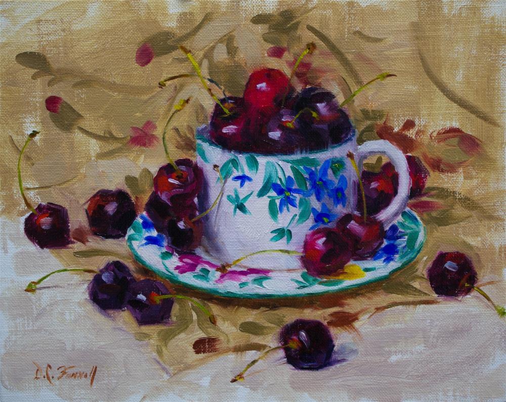 """Cup of Cherries"" original fine art by Donna C Farrell"