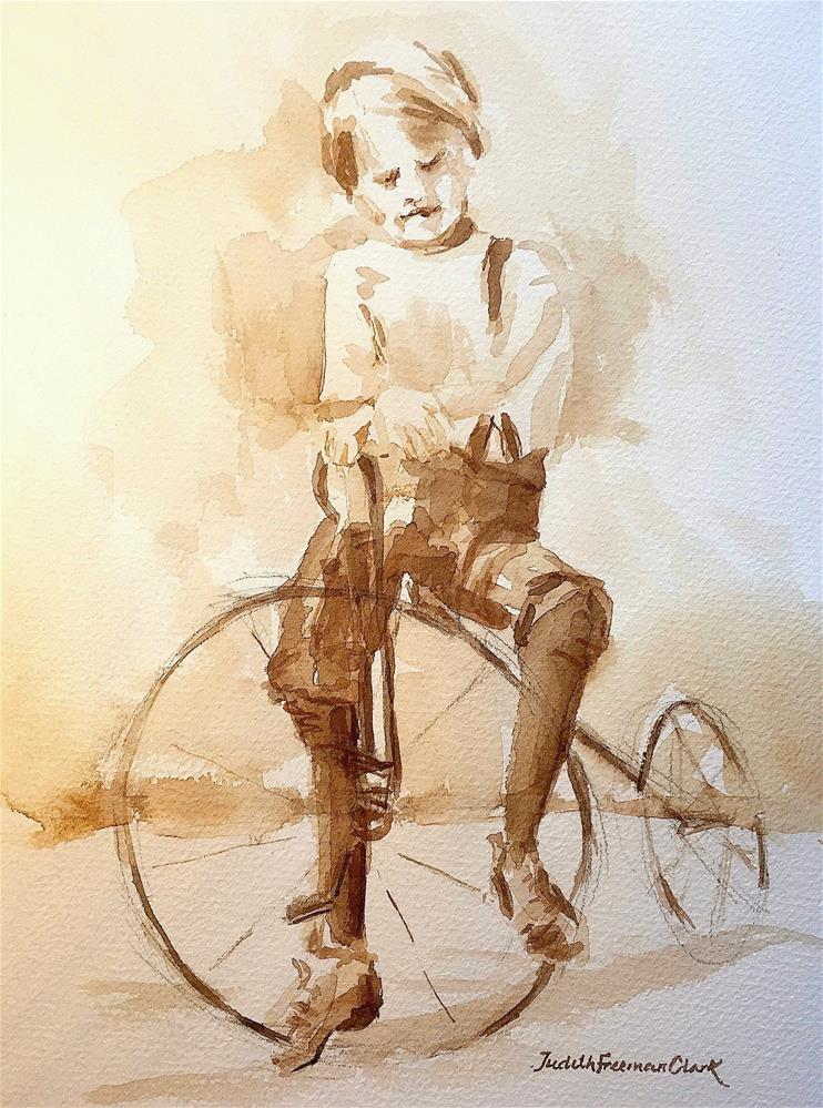 """Fred with his Bicycle, ca. 1919"" original fine art by Judith Freeman Clark"