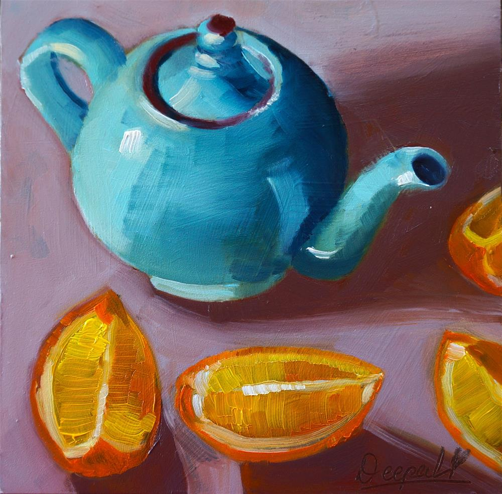 """Teapot with Orange slices"" original fine art by Dipali Rabadiya"