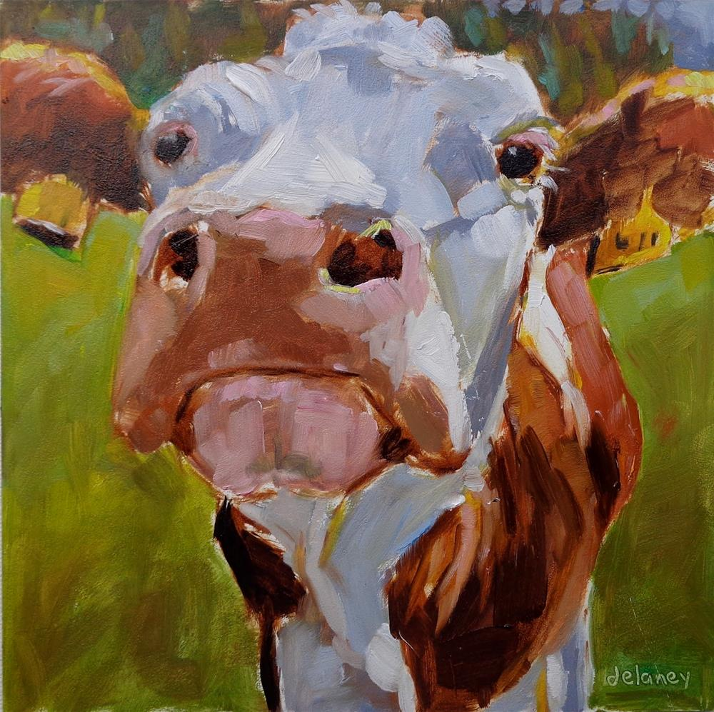 """Cow 141 CREATOR OF OPPORTUNITIES"" original fine art by Jean Delaney"