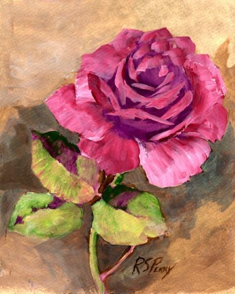 """Rose, unframed."" original fine art by R. S. Perry"