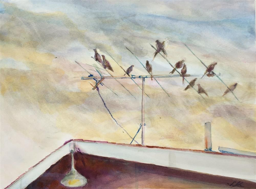 """Mourning Doves and the Rain Shower"" original fine art by Jean Krueger"