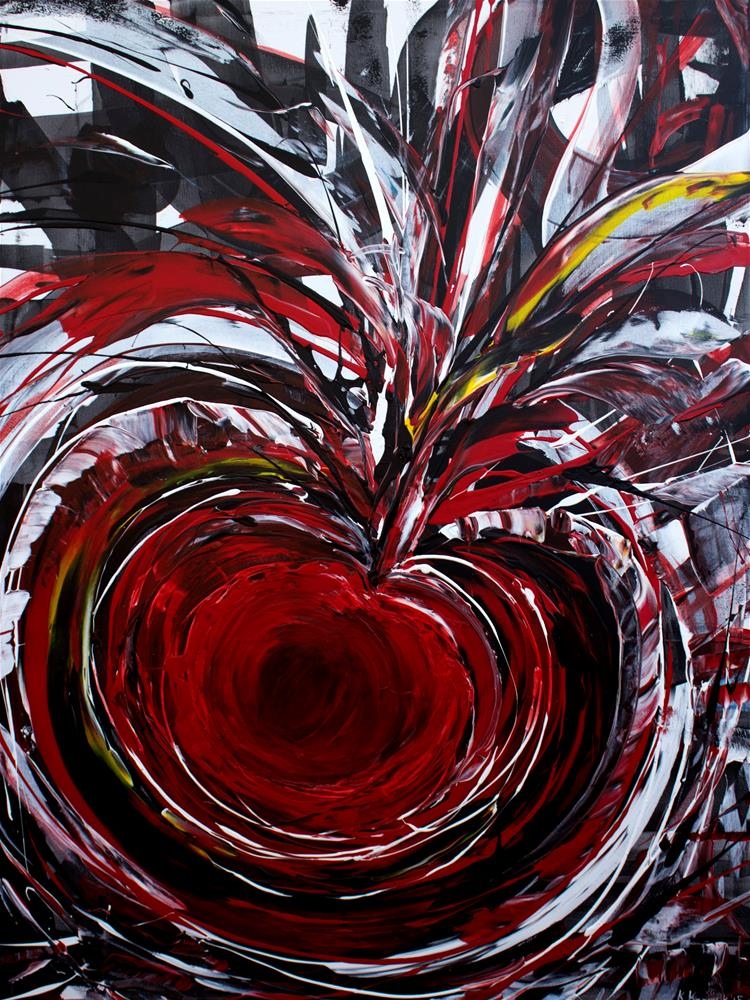 """Abstract View,large abstract painting red black and white"" original fine art by Khrystyna Kozyuk"