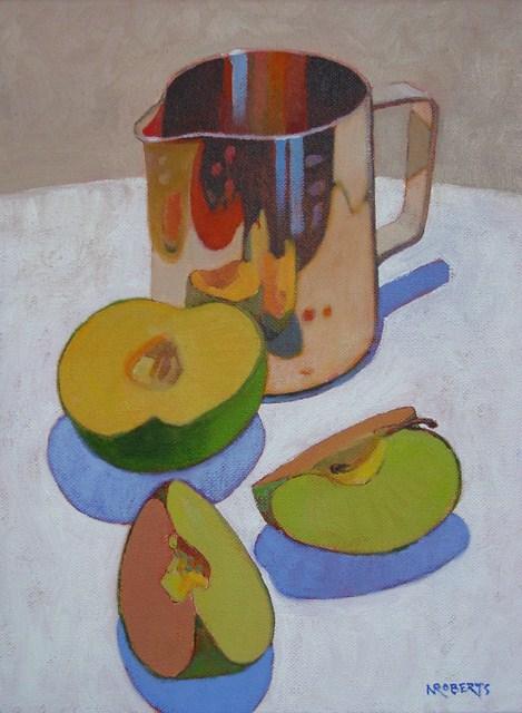 """Creamer and Apple Slices"" original fine art by Nancy Roberts"
