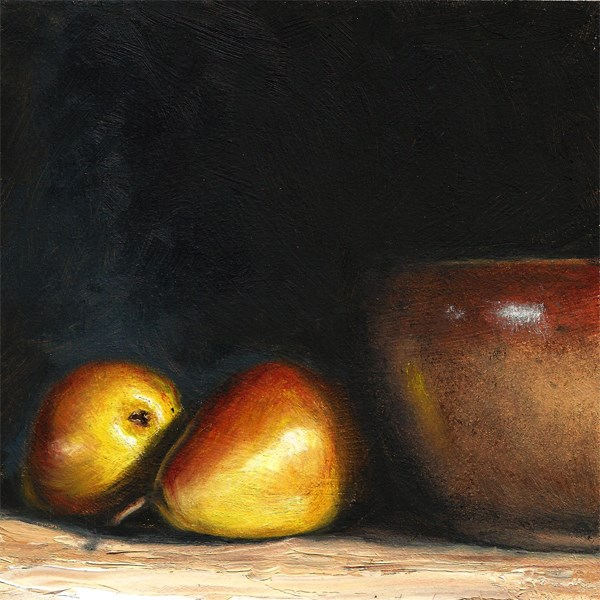 """""""Pears with earthenware bowl"""" original fine art by Peter J Sandford"""