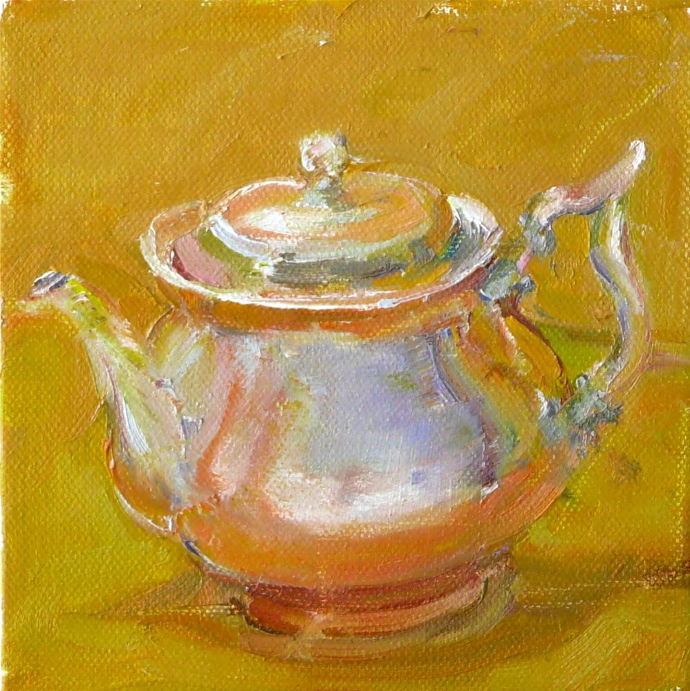"""Little Silver Teapot,still life,oil on canvas,6x6,priceNFS"" original fine art by Joy Olney"