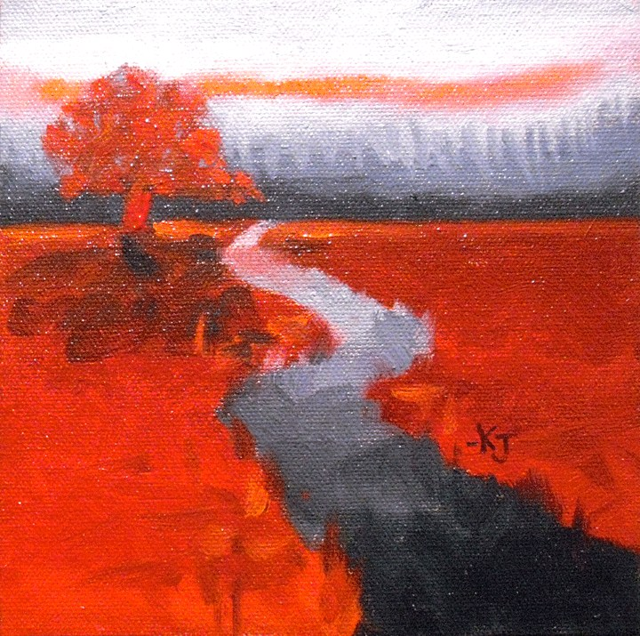 """#15 Lone Oak, Fire and Ice"" original fine art by Kathy Johnson"