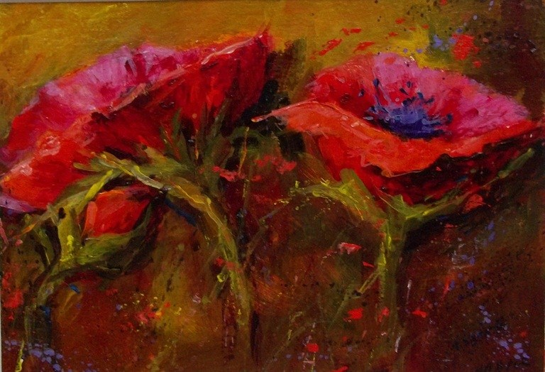 """Red Dancers in the Meadow"" original fine art by Alice Harpel"