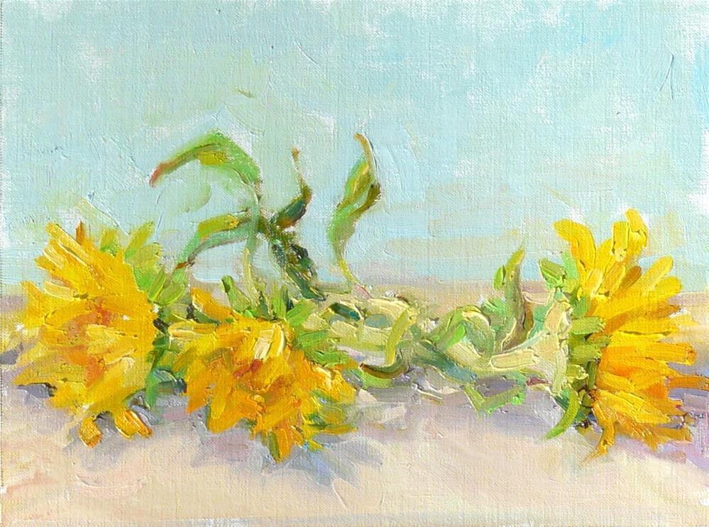 """Cut Sunflowers,still life,oil on linen canvas,9x12,price$300"" original fine art by Joy Olney"