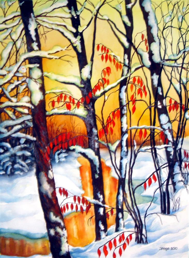 """Sunset creek"" original fine art by Inese Poga"