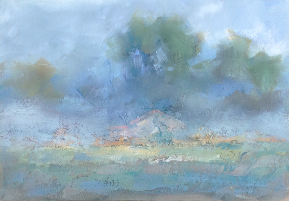 """FOG, IMPRESSIONIST OIL PAINTING "" original fine art by Tom Brown"