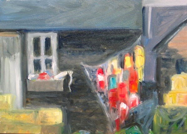 """Buoys on Shack"" original fine art by Lynne Schulte"