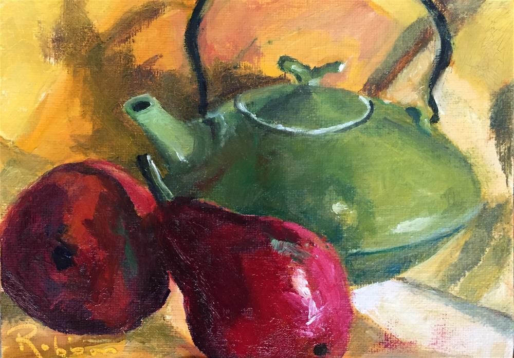 """Pear and teapot, Redux"" original fine art by Renee Robison"