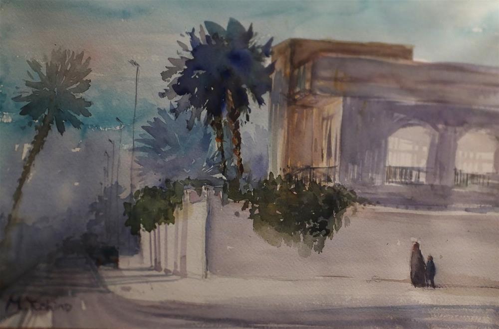 """Zayed Al Awwal St, Al Ain"" original fine art by Midori Yoshino"