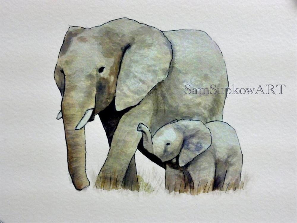 """Elephants"" original fine art by Sam Supkow"
