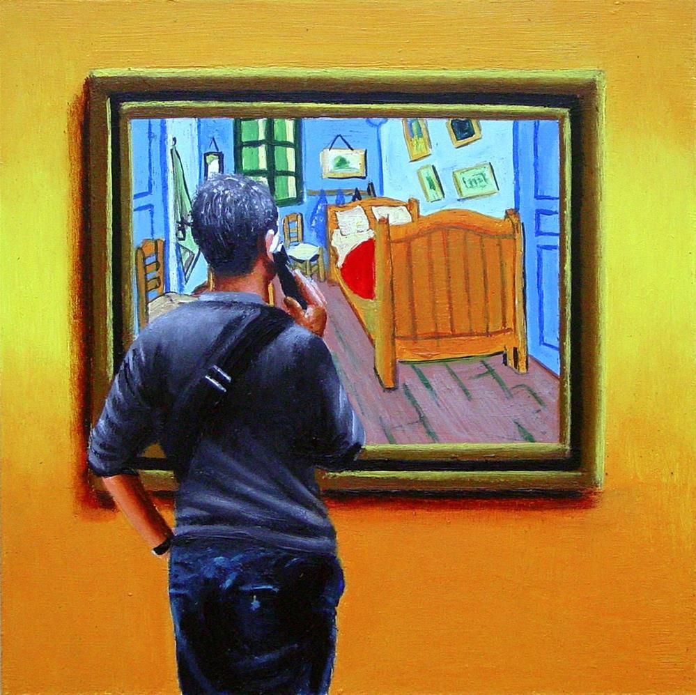 """""""Bedroom in Arles- Painting Of Man Enjoying Painting By Vincent van Gogh"""" original fine art by Gerard Boersma"""