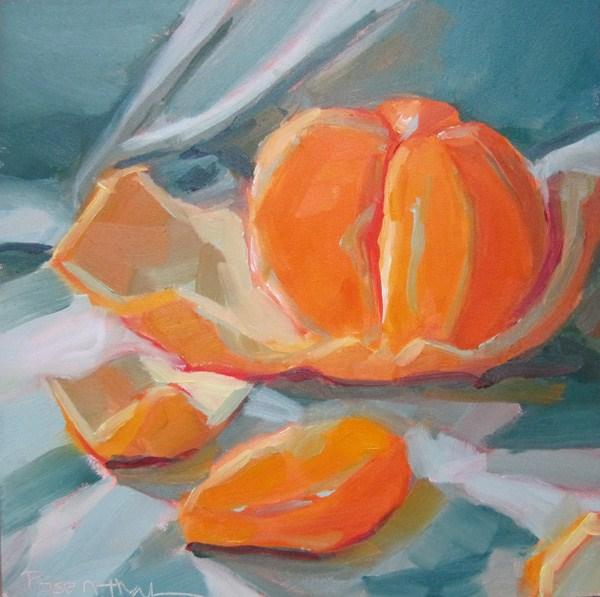 """Mandarin Orange on Folded Cloth"" original fine art by Robin Rosenthal"
