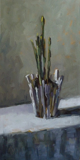 """""""Narcissus in a Brush Pot 16x8 oil on canvas panel"""" original fine art by Mary Sheehan Winn"""
