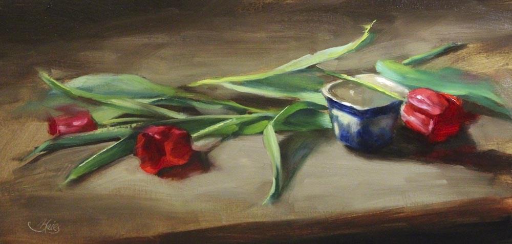 """Three Red Tulips"" original fine art by Pamela Blaies"