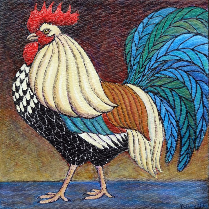 """Dorking Cockerel"" original fine art by Ande Hall"