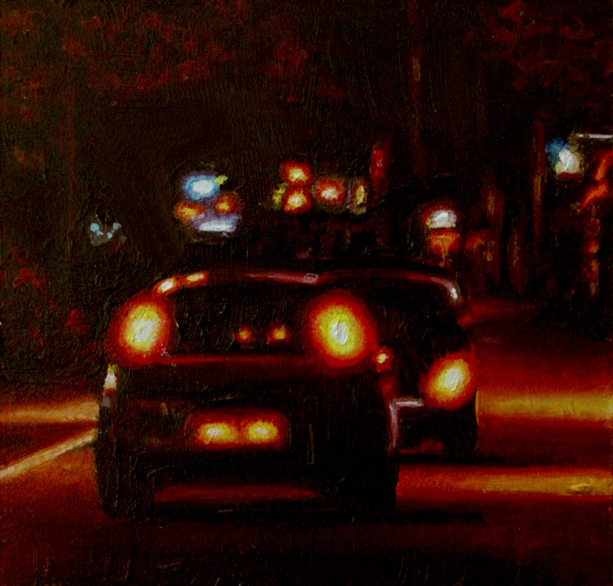 """""""Cars- Nocturnal City Scene Painting Of Two Cars"""" original fine art by Gerard Boersma"""