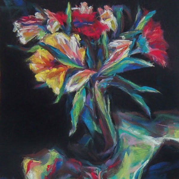 """BOUQUET - 8' x 8 still life pastel by Susan Roden"" original fine art by Susan Roden"