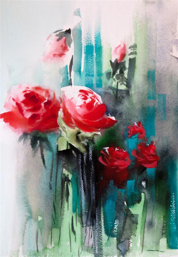 """red roses"" original fine art by Christa Friedl"