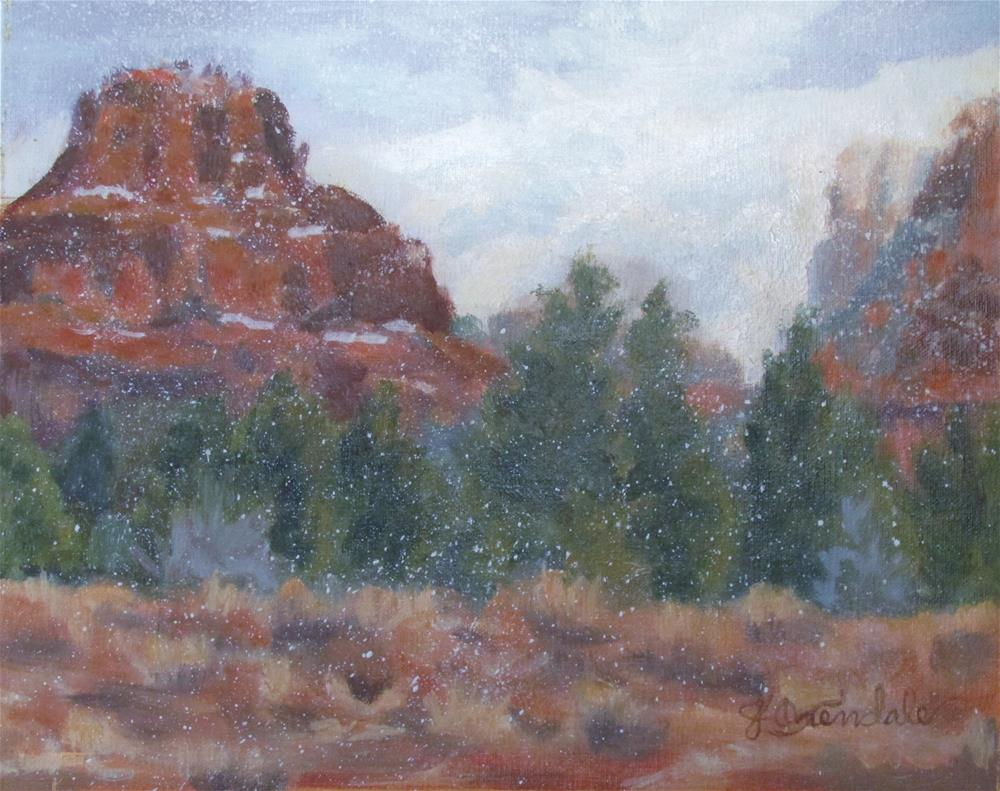 """Snowfall on Bell Rock"" original fine art by Jan Oxendale"