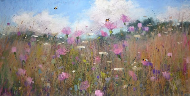 """New Sunday Studio Video...Painting a Wildflower Meadow"" original fine art by Karen Margulis"