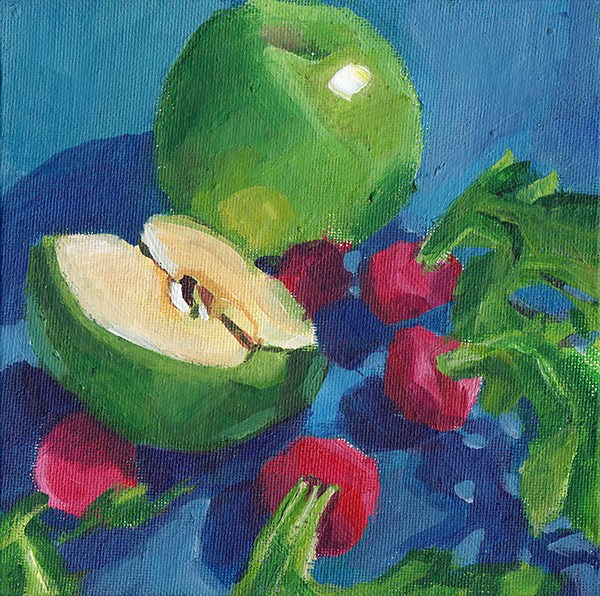 """Apple and Radishes"" original fine art by J M Needham"