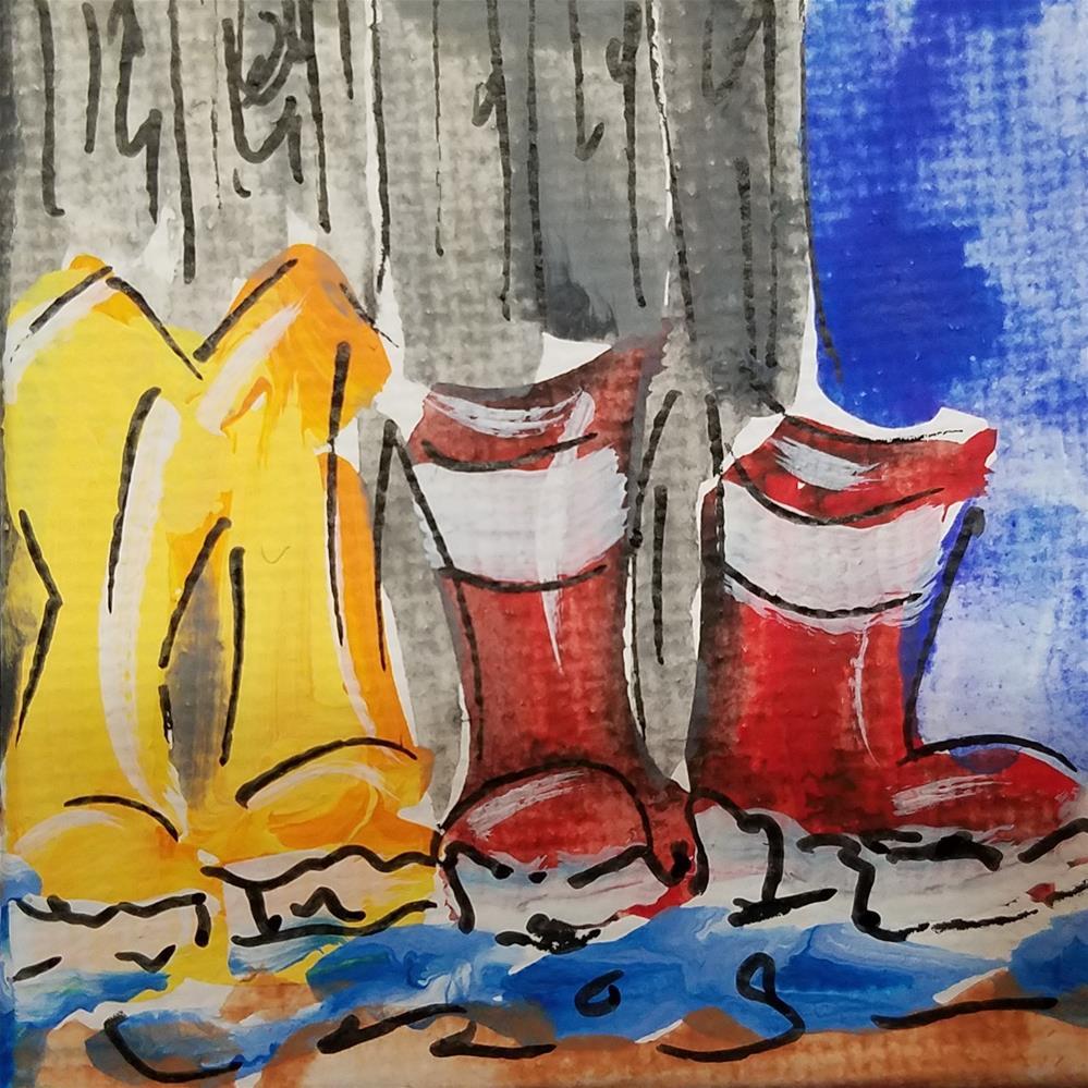 """""""Itty Bitty Rainboots 682"""" original fine art by Terri Einer"""